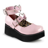 Pink 6 cm SPRITE-02 lolita sko gothic plateausko med tykke såler