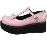Pink 6 cm SPRITE-03 lolita sko gothic plateausko med tykke såler