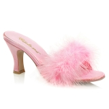 Pink 7,5 cm FLAPPER-01F Marabou fjer Høje Slip in sko