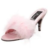 Pink 8 cm AMOUR-03 Marabou fjer Høje Slip in sko