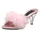 Pink 8 cm BELLE-301F Marabou fjer Høje Slip in sko