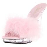 Pink Gennemsigtig 13 cm Fabulicious LIP-101-8 Plateau Høje Slip in Mules