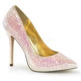 Pink Glitter 13 cm AMUSE-20G High Heeled Evening Pumps Shoes