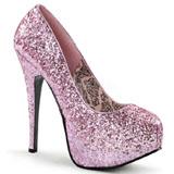 Pink Glitter 14,5 cm BORDELLO TEEZE-06G Høje Hæle Pumps Plateau