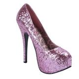 Pink Glitter 14,5 cm Burlesque BORDELLO TEEZE-06G Høje Hæle Pumps Plateau