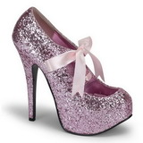 Pink Glitter 14,5 cm TEEZE-10G Platform Pumps Shoes