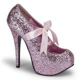 Pink Glitter 14,5 cm TEEZE-10G Platform Pumps Sko