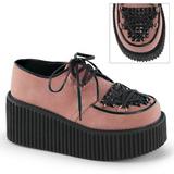 Pink Kunstlæder CREEPER-216 Plateau Creepers Sko til Kvinders