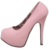 Pink Lak 14,5 cm Burlesque BORDELLO TEEZE-06 Høje Hæle Pumps Plateau