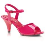 Pink Lakeret 8 cm BELLE-309 lave højhælede sko med lav hæl