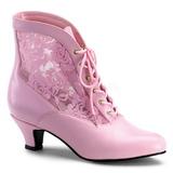 Pink blonder stof 5 cm DAME-05 Dame Ankel St�vler med Sn�reb�nd