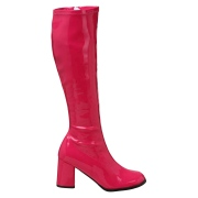 Pink boots block heel 7,5 cm - 70s years style hippie disco gogo under kneeboots patent leather