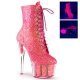 Pink glitter 18 cm ADORE-1020G ankelstøvler damer med plateausål