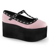Pink lærred 8 cm CLICK-07 gothic plateausko lolita sko tykke såler