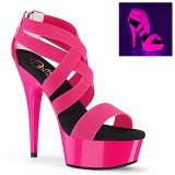 Pink neon 15 cm DELIGHT-669UV poledance sko