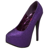 Purple Glitter 14,5 cm TEEZE-31G Platform Pumps Shoes
