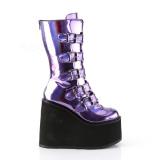 Purple Hologram 14 cm SWING-230 cyberpunk platform boots