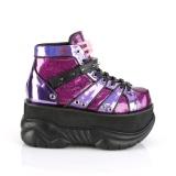 Purple Leatherette 7,5 cm NEPTUNE-100 Platform Mens Gothic Shoes