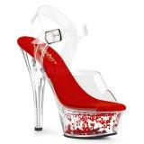 Red 15 cm KISS-208WHG glitter platform sandals shoes
