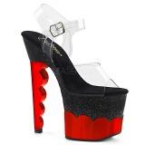 Red 18 cm SCALLOP-708-2HGM Hologram platform high heels shoes