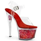 Red 18 cm SKY-308GF glitter platform sandals shoes