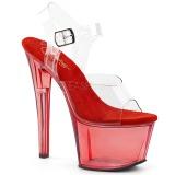 Red 18 cm SKY-308T Acrylic platform high heels shoes
