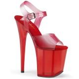 Red 20 cm FLAMINGO-808N-T platform pleaser sandals