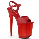 Red 20 cm FLAMINGO-809T Acrylic platform high heels shoes