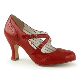 Red 7,5 cm FLAPPER-35 Pinup Pumps Shoes with Low Heels