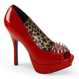 Red Patent 13 cm PIXIE-17 High Womens Shoes with Rivets