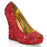 Red Rhinestone 13,5 cm ISABELLE-18 Platform Wedge Pumps Heels