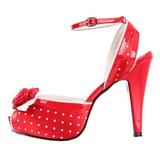Red Satin 12 cm PINUP retro vintage BETTIE-06 High Heels Platform