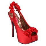 Red Satin 14,5 cm Burlesque TEEZE-56 Platform High Heeled Sandal Shoes