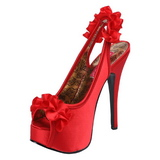 Red Satin 14,5 cm TEEZE-56 Platform High Heeled Sandal Shoes