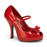 Red Shiny 12 cm CUTIEPIE-08 Platform Pumps Open Toe