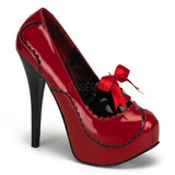 Red Shiny 14,5 cm Burlesque BORDELLO TEEZE-01 Platform Pumps
