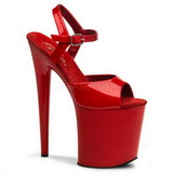 Red Shiny 20 cm Pleaser FLAMINGO-809 High Heels Platform