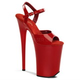 Red Shiny 23 cm INFINITY-909 High Heels Platform