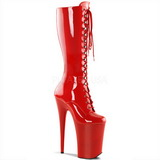 Red Shiny 23 cm Pleaser INFINITY-2020 Platform Knee Boots