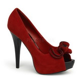 Red Suede 13,5 cm LOLITA-10 Platform Pumps Open Toe