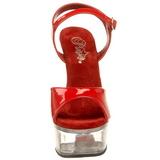 Red Transparent 15 cm CAPTIVA-609 High Heels Platform