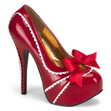 Red Varnish 14,5 cm Burlesque TEEZE-14 Womens Shoes with High Heels