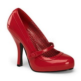 Red Varnished 12 cm CUTIEPIE-02 Women Pumps Shoes Flat Heels