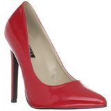 Red Varnished 13 cm SEXY-20 Women Pumps Shoes Flat Heels
