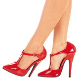Red Varnished 15 cm DOMINA-415 Women Pumps Shoes Flat Heels
