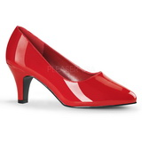 Red Varnished 8 cm DIVINE-420W Women Pumps Shoes Flat Heels