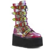 Regnbue 9 cm DAMNED-225 plateau damestøvler med spænder