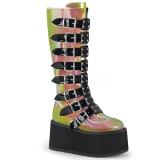 Regnbue 9 cm DAMNED-318 plateau damestøvler med spænder