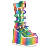 Regnbue Glitter 14 cm SWING-230 cyberpunk plateaustøvler