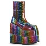 Regnbue Hologram 18 cm STACK-201 Plateau Ankelstøvler til Mænd